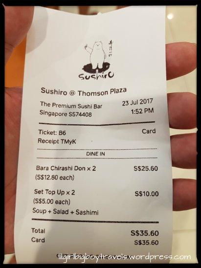 sushiro receipt